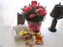ピンクカーネ鉢とベルギーワッフルメープル&プレーン