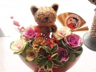 迎春!まねき猫入り葉ボタン寄せ植えMIXーR