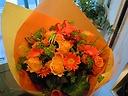 おまかせ花束「豪華なオレンジイエロー」