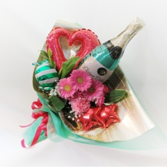 ★シャンパンバルーン☆彡★花束ピンク