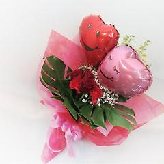 バルーンブーケ「ペアハート」赤薔薇入り