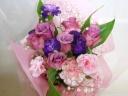 【紫色のバラ&カーネーションブーケ】