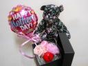 【バルーン付花柄プリントのクマさん&ピンクプリザ】