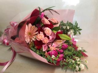 【華やか!バラとユリの花束を】