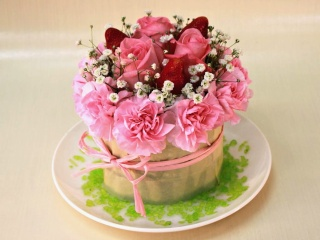 イチゴのフラワーケーキ (PINK)