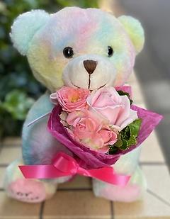 幸せを呼ぶドリームベアー ピンク花束お届け!