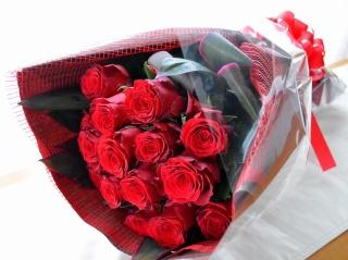 ローズブーケ 赤バラ15本の花束