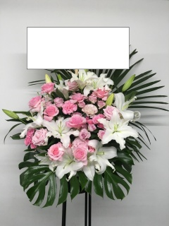 142 白ユリ ピンクバラSPバラ スタンド花