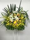 190 白ユリ 黄色バラ オンシ スタンド花