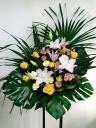 204 白ユリ 黄色バラ スタンド花