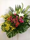 207 白ユリ ピンクバラ オンシ スタンド花