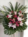 208 シロユリ ピンクバラ スタンド花