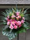 212 ピンクユリ・バラ スタンド花