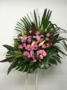 219 ピンクユリ・バラ ピペリカム スタンド花