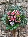 1080 ピンクユリ バラ スタンド花