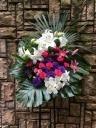 1129 Wユリ 濃いバラ 紫トルコ スタンド花