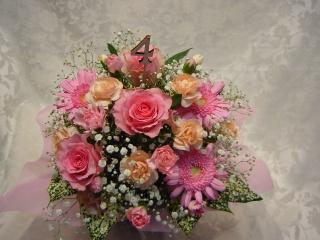 記念日に!ナンバーピック付きアレンジNo4 ピンク