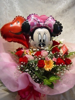 誰にあげる?ミニーのバルーン付大きな花束