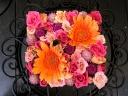 「フレッシュフラワーボックスM」オレンジ/ピンク