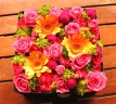 母の日「フラワーボックスL」ピンク/オレンジ