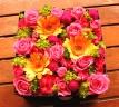 母の日「フラワーボックスM」オレンジ/ピンク