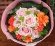 母の日「パステルローズ・ブーケL」ピンク/オレンジ