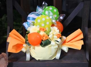 フラワー&バルーンアレンジ「レモンキャンディー」