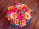 母の日「ビビッドアレンジM」ピンク/オレンジ