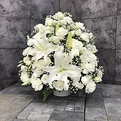 【供花】ユリ入りカーネーションとカスミソウのアレンジW(H55)