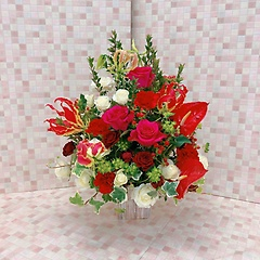 バラとアンスリウムの赤白大人アレンジ(H54)