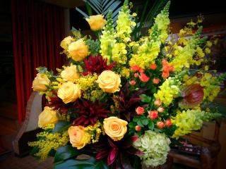 御祝いスタンド花 イエローカリヨン