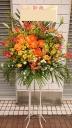 黄色オレンジ系 バラとガーベラのスタンド