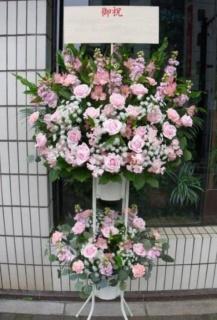 スタンド花(2段)ピンク・レッド系