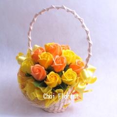 黄色とオレンジ系バラのソープフラワー大 sf102
