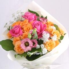 ピンクとオレンジ色の花束/ B096