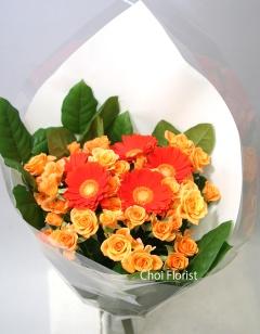オレンジバラとガーベラの花束 /B090