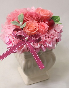 可愛いピンク色のプリザーブド/P452
