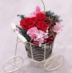 幸せな花を自電車に乗せて 赤ピンク系/P470