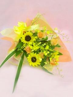 ヒマワリと季節の蘭の花束