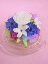 白バラとジャスミンのプリザーブドフラワー ガラスド