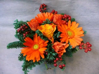 オレンジクリスマス リース付き