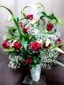 カサブランカと12本の赤バラ 高級花瓶付き