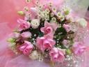 ピンク系ローズ花束