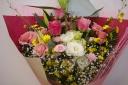 【ピンクバラとユリ 】花束