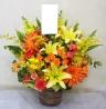 豪華な花材で華やかなアレンジ♪(0473)