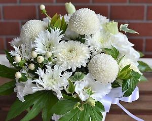 白い素敵なマムで可愛くて清楚なお悔みのお花