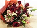 赤バラ・百合の花束