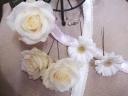 生花のヘアーアクセサリーホワイト5パーツ