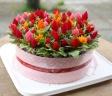 箱を空けたらケーキのようなお花  セロシアピンク