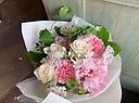 ペットのお悔みに「ホワイト&ピンクの花束」